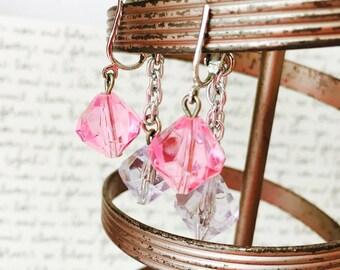 Purple and Pink Earrings, Vintage Dangle Earrings Silver, Pink Crystal Earrings, Pink and Purple Gemstone Earrings, Sarah Coventry Earrings