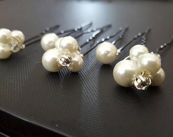 Pearl hair pins - Rhinestone hair pins - Pearl cluster hair pins - Wedding hair pins - Wedding accessory - Hair pearls - Pearl bobby pins