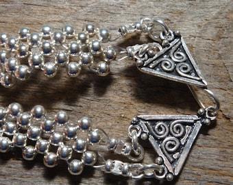 Miniature Breakfast at Tiffany's - STERLING SILVER Flower Weave CUFF Bracelet - Handmade by Dorana