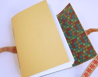 Yellow Leather Journal, Flower Journal, Flower Notebook, Mindfulness Journal, Bullet Journal, Gratitude Journal, Hand Bound Leather Journal