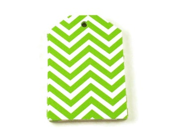 Large Paper Gift Tags in Green Chevron Set of 20