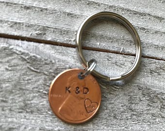 """Hand-stamped personalized """"lucky"""" penny keychain"""