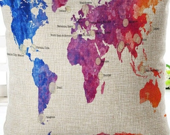 Linen world map etsy world map pillow cover gumiabroncs Images