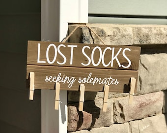 Personalized Wooden Lost Socks Sign