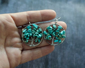 Turquoise Stone Tree of Life Wire Wrapped Earrings, Sterling Silver, Turquoise Earrings, Matching Necklace, Christmas Gift