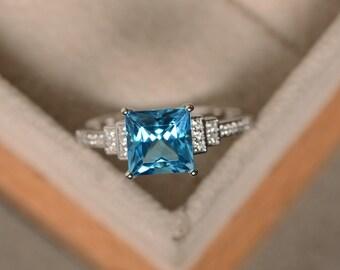Swiss blue topaz ring, princess cut engagement, promise ring, sterling silver, blue topaz ring