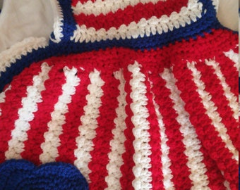 Vintage Crochet Apron- Patriotic - Red White Blue -Handmade