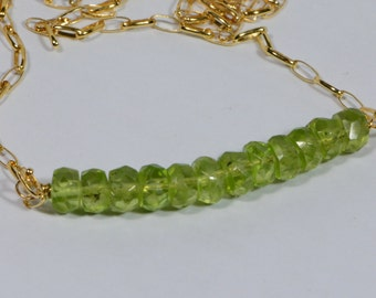 Natural Peridot Necklace Gold Chain Necklace Bar Gemstone Birthstone For August