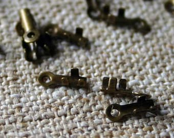 100pcs Crimp Cord Ends Tip Antiqued Gold-Plated Brass 7x2mm For 0.5- 1mm Cord