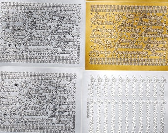 RANDOM 20 SHEETS silver and gold mixed pack craft peel offs, stickers for arts and crafts, invites, card making,candles deco etc