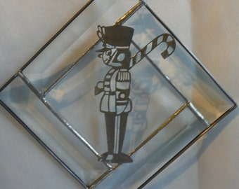 Nutcracker, Solider Filigree in Bevels Stained Glass Tree Ornament or Sun Catcher