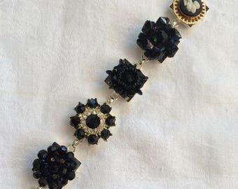 Vintage Repurposed Bracelet - Black