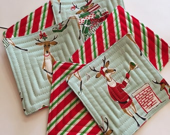 Holiday coasters, fabric coasters, reindeer fabric, set of 6 coasters, hostess gift, modern coasters,quilted coasters, unique Christmas gift