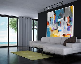 Large  Abstract Contemporary Square  Painting On Canvas, Modern Wall Art Painting, Handmade Original Wall Decor Art Orange  Blue Grey