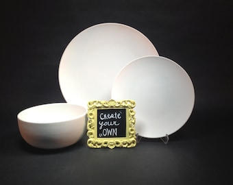 3 Piece create your own- custom painted ceramic dish set-dinner plate, salad plate, bowl-one of a kind