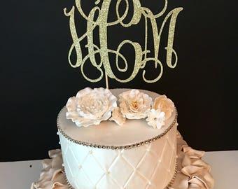 ANY MONOGRAM,  Monogram Cake Topper, Bridal Shower Cake Topper, wedding Cake Topper, initial Cake Topper, bridal shower cake topp