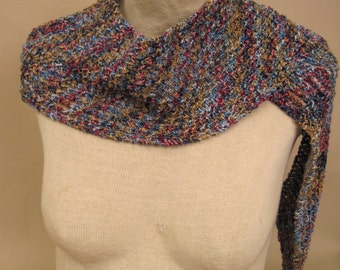 Hand Knit Scarf Wrap Blues Wine Gold