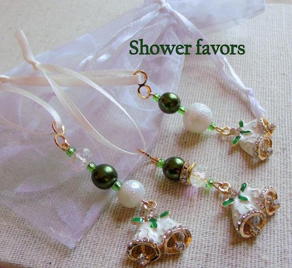Set of 3 Elegant wedding favors - White bell charms -  miniature crystal tree ornaments - christmas bell  - rhinestone glitz zipper pull