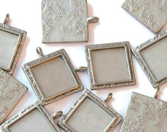 Piece of Tin square pendant textured for making jewelry LoB-55 (10 pieces)