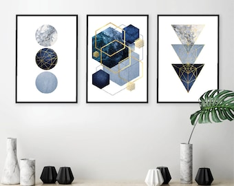 Set of 3 downloadable navy blue gold geometric prints Instant download minimalist art Printable posters Digital download Wall Art Decor A1 : blue and gold wall art - www.pureclipart.com