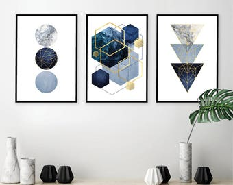 Set of 3 downloadable navy blue gold geometric prints Instant download minimalist art Printable posters Digital download Wall Art Decor A1 & Blue geometric art | Etsy