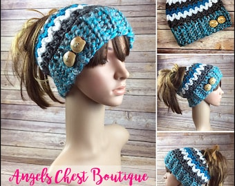 READY TO SHIP - Crochet Messy Bun Beanie, Top Knot Beanie, Ponytail Beanie, Runners Hat, Mom Bun by Angel Chest Boutique