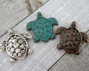 Mykonos Sea Turtle Pendant, 30x30mm, Choice of Finish, Metal Casting, Sea Life Pendant, Beach Style, Made in Greece, MT1