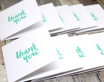 Mini Thank You cards - Set of 10 handmade hand stamped mini Thank You cards - Square mini note cards - Hand made customer Thank You cards