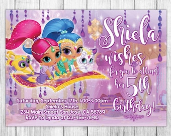Shimmer and Shine Invitation, Shimmer and Shine Birthday Invitation, Shimmer and Shine Birthday Party, Shimmer and Shine Thank You Card