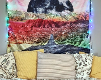Stellar Path Moon Tapestry | Colorful Hippie Tapestry | Rainbow Design | Psychedelic Rainbow Mountain | Trippy Landscape Wall Hanging