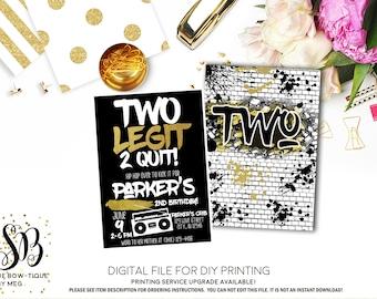 Two Legit to Quit - 2nd Birthday -Personalized photo invitation- ***Digital File*** (2legit-quitBlk2018)