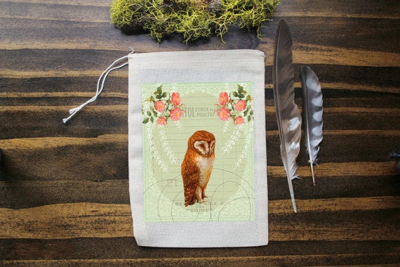 Owl Muslin Bags - Art Bag - Pouch - Gift Bag - 5x7 bag - Crystal Pouch - Party Favor - Packaging