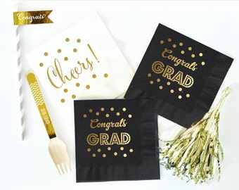Graduation Party Decorations | Graduation Napkins | Graduation Decor | Class of 2017 | GOLD Grad Party Decor' | Set of 25 Grad Napkins