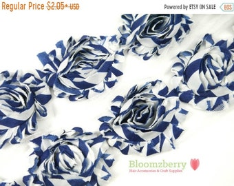 "SALE 30% OFF 2.5"" PRINTED Shabby Rose Trim - Navy Stripes - Printed Stripe Flowers - Chiffon Flowers - Headband/Hair Bow/Hair Acessories Sup"