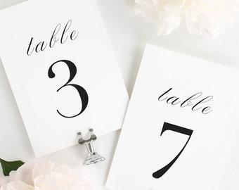 Serif Romance Table Numbers - 5x7""