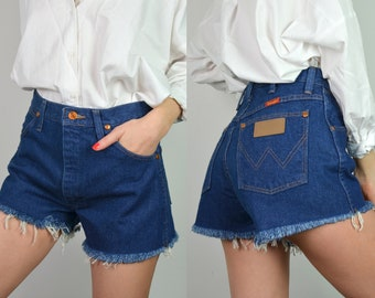 Vintage 90s Wrangler Dark Indigo Blue Denim High Waisted Frayed Shorts
