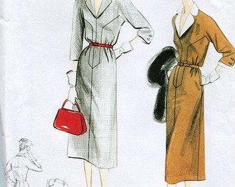 FREE US SHIP Vogue  8851 Vintage Retro 1950's Sewing Pattern Dress Detachable Collar Cuffs  Old Store Stock Uncut Size 6/14