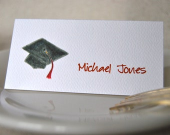 Graduation Cap Tented Name Place Cards 10 Personalized Party Decor or 12 Blank