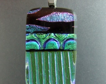 Lime Dichroic Pendant, Handmade Fused Glass Jewelry