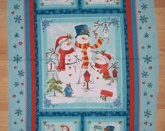An Adorable Frosty And His Friends Winter Holiday Fabric Panel Free US Shipping