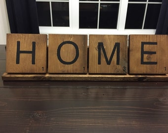 Large wooden scrabble tiles with tray