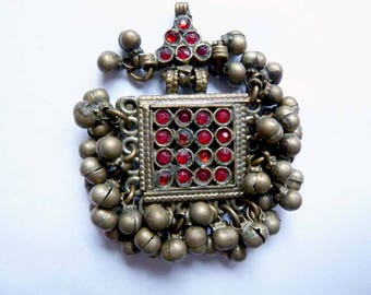 Vintage Small Kuchi Pendant from Afghanistan,  Small Fancy Ethnic Pendant with Dangles and Glass Cabochons