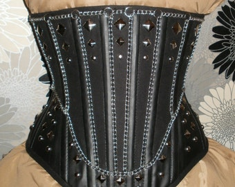 Black Denim,Faux Leather and Chains Under-Bust Corset