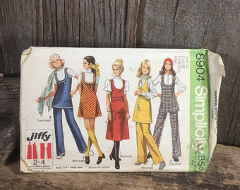Vintage Simplicity 8904, sewing pattern from 1970, vintage jumper or tunic sewing pattern, jiffy sewing pattern, size 12 pattern
