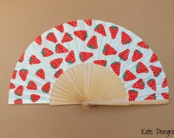 Multi Strawberry Feeling Fruity Summer Hand Fan Folding Fan Wood Fabric Handheld Fan Hand Painted by Kate Dengra Made to Order