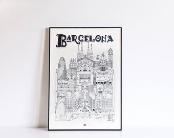Barcelona / A4 / Docteur Paper / Travel With Me / Illustration / Voyage / Affiche / Ville / Décoration murale / Noir et Blanc / Map / Design