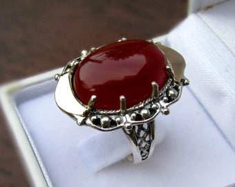 Unique carnelian ring, silver gold ring, red carnelian ring, vintage ring,women ring,handcrafted jewelry,two tone ring