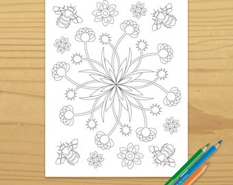 Bee Coloring Page, Flower Coloring Page, Floral Coloring Page, Garden Coloring Page, Zen Coloring Page, Digital Download