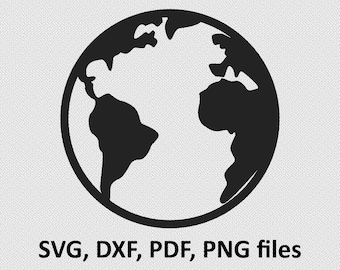 planet earth Silhouette - Svg Dxf Silhouette Pdf Png Files Digital Cut Vector File Svg File Cricut Laser Cut, world svg, globe svg