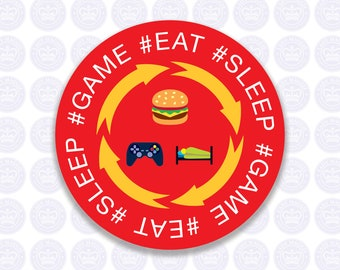 Eat Sleep Game Repeat Decal - Gamer Decal - Gamer Laptop Decal - Gamer Bumper Sticker - Free Shipping Removable or permanent vinyl sticker